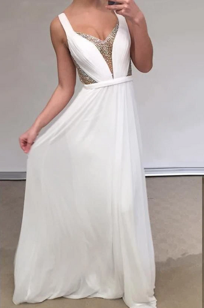 Unique Prom Dresses, Cheap A Line Chiffon Backless White Sweetheart Bead Prom Dresses 1677