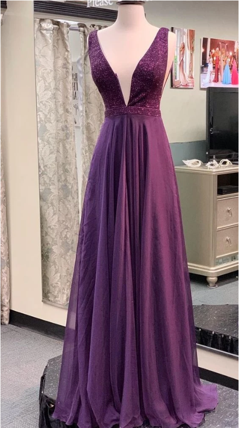 A line V-neckline Grape Prom Dress 1679