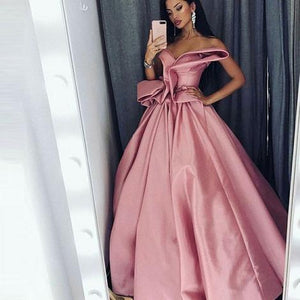 A-Line Sweetheart Floor-Length Pink Satin Prom Dress With Ruffles 1689