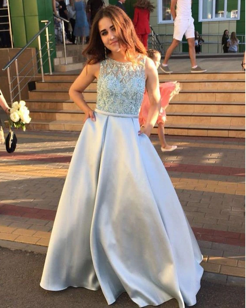 Light Blue Prom Dress, Satin Prom Gown, Beading Prom Dress 1697