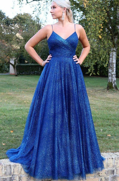 Royal Blue Long Prom Dress with Pleated 1704