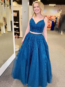 Sparkle Tulle Appliques Two Piece Royal Blue Prom Formal Dresses 1723