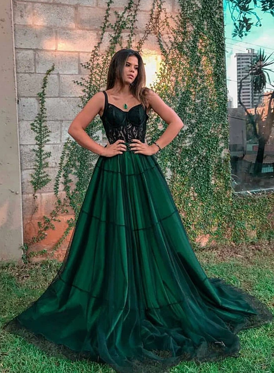 Stylish green tulle long prom dress, green evening dress 1739