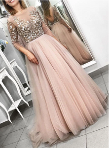 Pink lace tulle long prom dress, long sleeve evening dress 1740