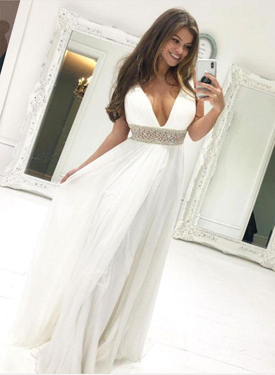 White v neck chiffon beaded long prom dress, white evening dress 1745