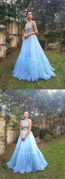 Sky blue tulle long prom gown, sweet 16 dress 1748