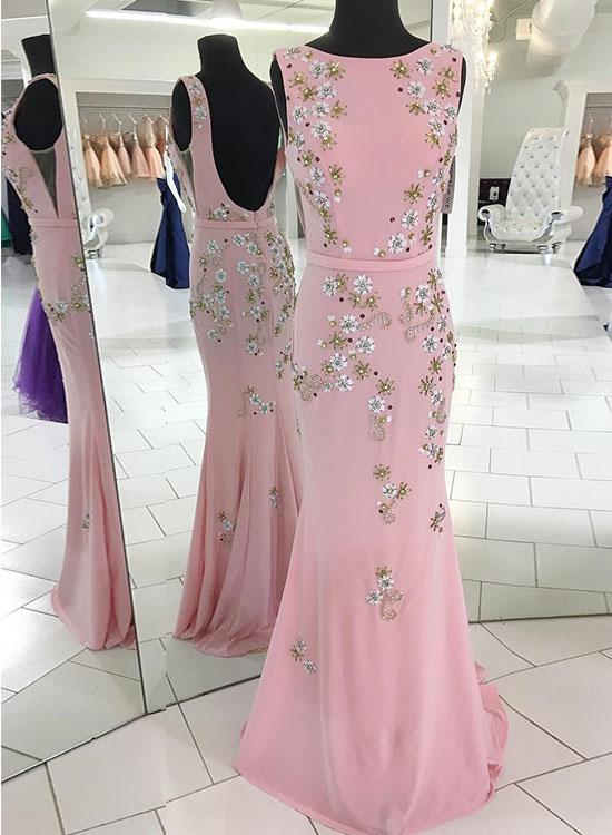 Pink mermaid long prom dress, pink evening dress 1752