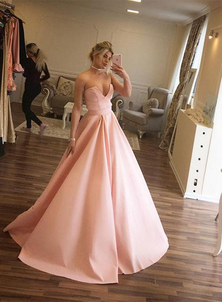 Simple pink v neck long prom gown, evening dress 1754