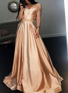 Custom made champagne off shoulder long prom dress, champagne evening dress 1758