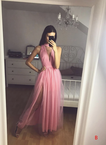 Simple tulle long prom dress evening dress 1771