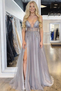 Sexy Spaghetti Straps Floor Length Beading Prom Dress with Rhinestone, Long Evening Dress 1783