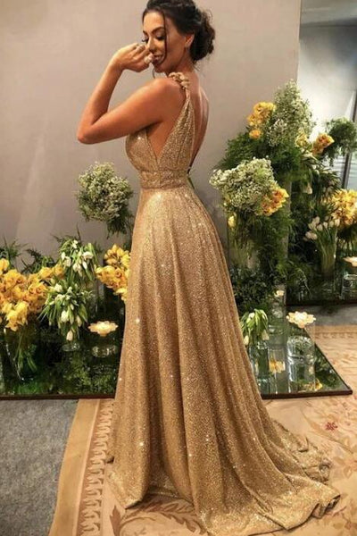 Gold V Neck Sequins Formal Dresses, A Line Sleeveless Sparkly Sweep Train Prom Dresses 1784