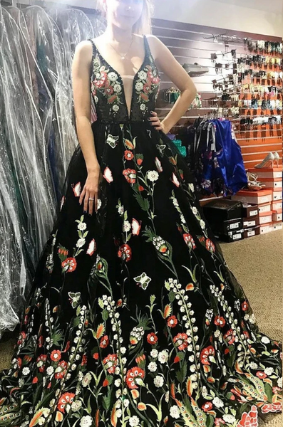 Beautiful Deep V Neck Sleeveless Black Long Prom Dress with Flowers, Unique Formal Dress 1787