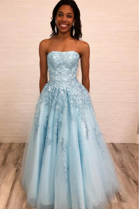 Light Blue Strapless Long Prom Dress with Lace Appliques, New Style Graduation Dress 1789