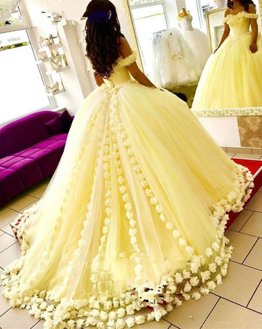 Yellow Ball Gown Quinceanera Dresses 3D Flowers Off Shoulder Sweet 16 Princess Prom Gowns 1792