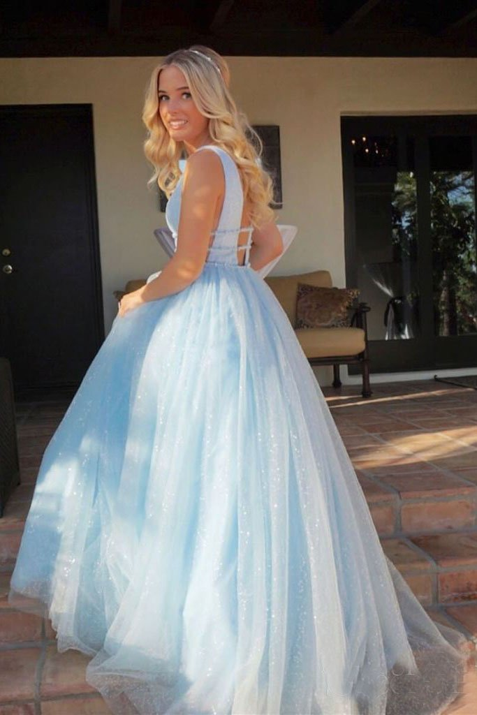 Light Sky Blue Sparkly Prom Dress, Charming Sleeveless V Neck Formal Dress 1794