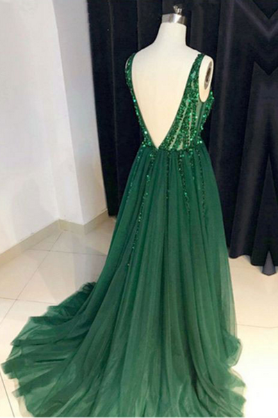 Dark Green Sparkly Prom Dress with Side Slit, A Line V Neck Tulle Long Party Dress 1795