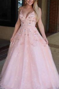 Spaghetti Straps Pink Prom Dress with Appliques Beading Formal Gown 1797