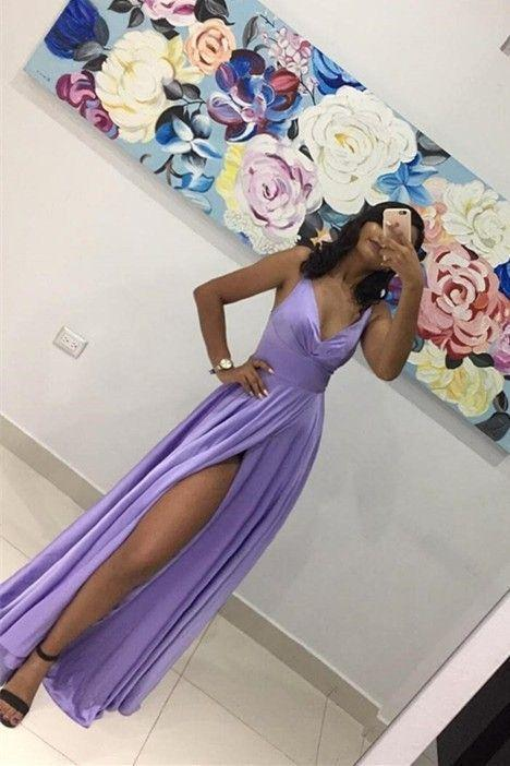 Sexy Lavender A Line Prom Evening Dress V Neck With Slit 1798