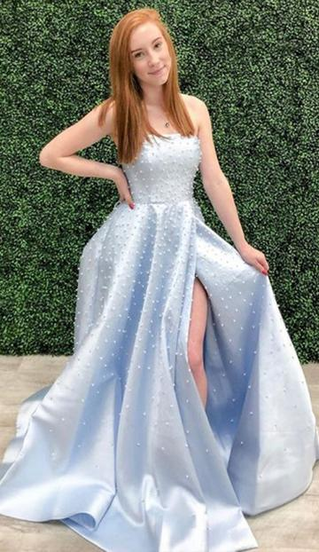 A Line Strapless Light Sky Blue Prom/Formal Dress With Pearls 1799