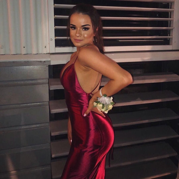 Sexy Mermaid Spaghetti Straps V Neck Burgundy Long Prom/Evening Dress 1806