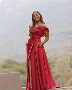 Classic A Line Off the Shoulder Red Long Prom/Evening Dress Split Front 1810