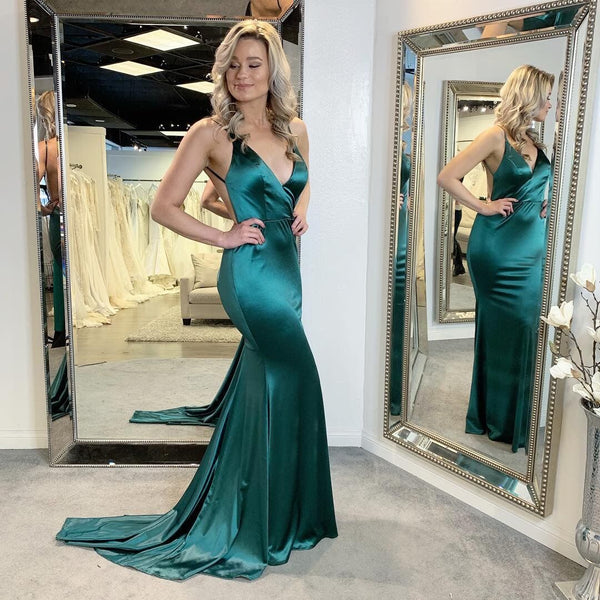 Sexy Mermaid V Neck Green Long Prom/Evening Dress Backless 1811