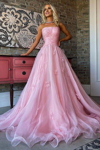 Glamorous A Line Strapless Pink Long Prom/Evening Dress Flowers 1813