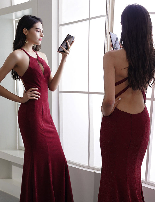 Sexy Mermaid Halter Burgundy Long Prom/Evening Dress Backless 1818