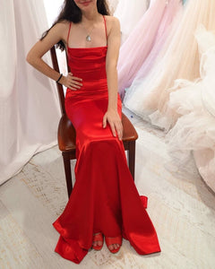 Hot Sexy Mermaid Spaghetti Straps Red Long Prom/Evening Party Dress 1820