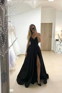 Sexy A Line V Neck Black Long Prom/Evening Dress with Split Front 1830