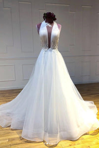 White Tulle V Neck Open Back Long Customize Prom Dress, Evening Dress 1838