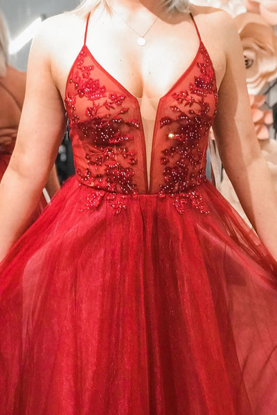Elegant Lace-Up Back A-Line Beaded Red Long Prom Dress 1841