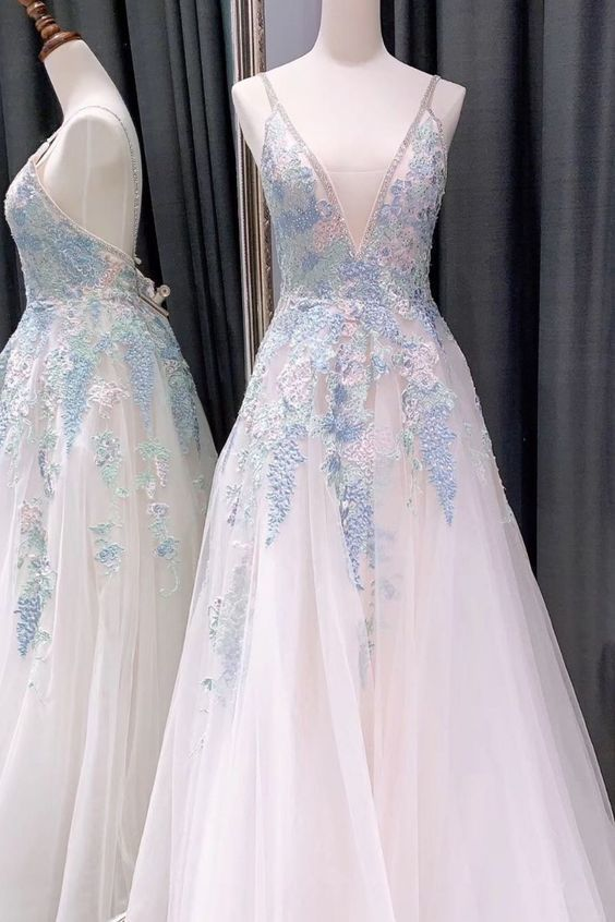 princess white and blue long prom dress, 2020 prom dress formal dress 1842