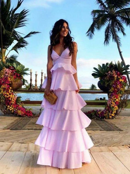 Chic A-Line V Neck Open Back Pink Satin Tiered Long Prom Dresses,Unique Party Dresses 1844