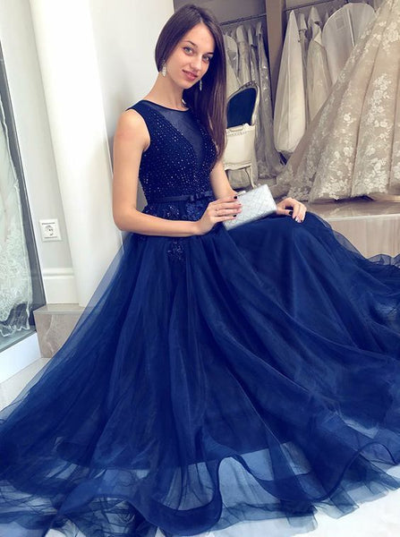 A-Line Round Neck Long Dark Blue Formal Dress with Beading Sash 1857