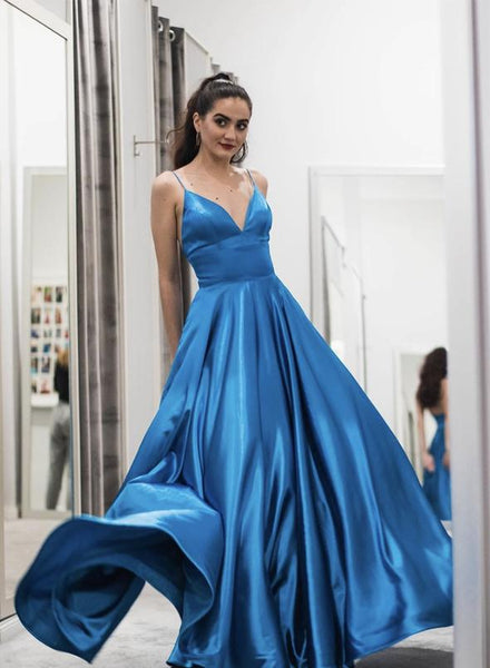 Blue v neck satin long prom dress evening dress 1864
