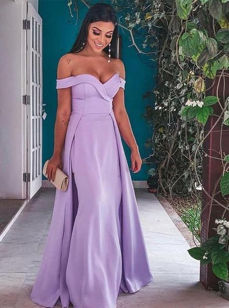 Elegant Off Shoulder Lavender Floor-Length Prom Dresses with Detachable Train 1873