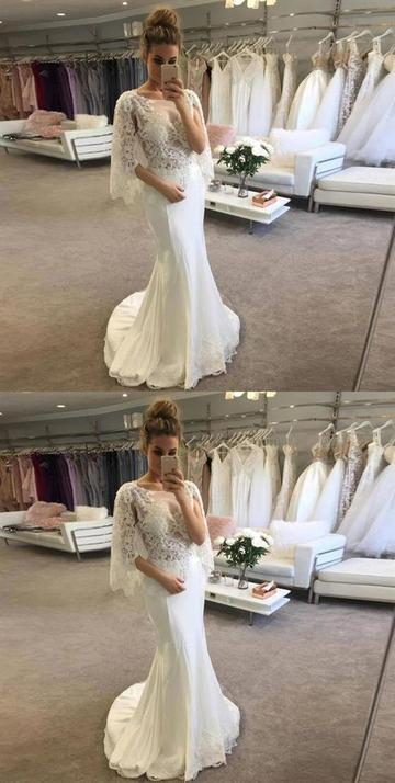 Lace Appliques Scoop Neck Prom Dresses Mermaid Bridal Dresses 1876