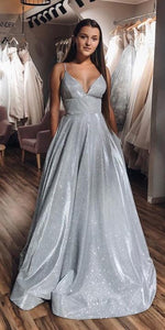 A-Line V-neck Spaghetti Straps Silver Sparkle Prom Dress with Pockets,prom dress 1877