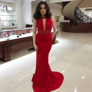 Mermaid Round Neck Red Long Prom Dress with Sequins Keyhole 1880