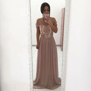 A-Line Strapless Floor-Length Blush Chiffon Prom Dress with Lace 1881