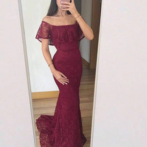 Mermaid Off-the-Shoulder Sweep Train Burgundy Lace Prom Dress 1882