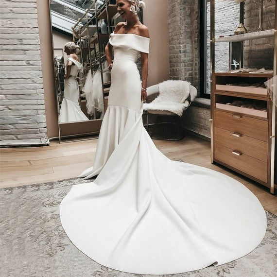 Mermaid Off-the-Shoulder Court Train White Satin Wedding Dress 1891