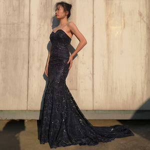 Mermaid Sweetheart Navy Blue Long Prom Dress Lace Evening Dress 1892