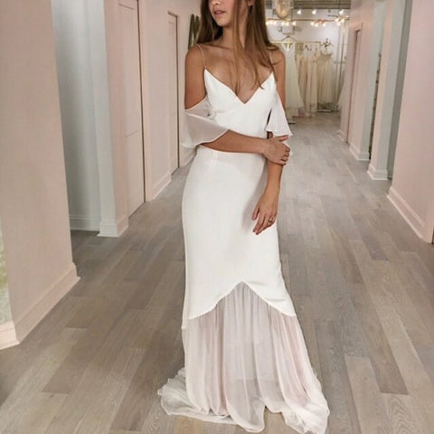 Mermaid Spaghetti Straps Cold Shoulder Sweep Train Wedding Dress 1894