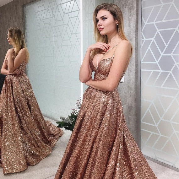 A Line V Neck Floor-Length Champagne Sequined Prom Dress 1895
