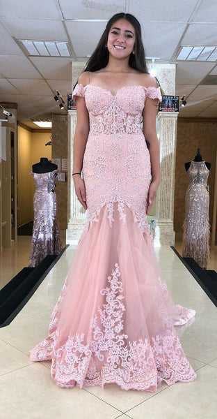 Mermaid Off Shoulder Sleeves Pearl Pink Prom Dress,FIttedd Long Party Dress 1899