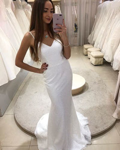 Glitter Sequins Mermaid Wedding Dress Spaghetti Straps V Neck Sweep Train 1903