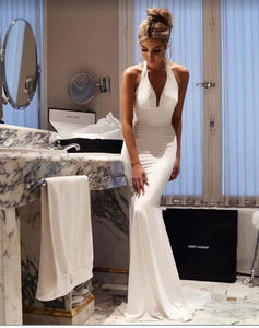 Sexy White Halter Mermaid Evening Gown Formal Prom Dresses 1907